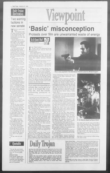 Daily Trojan, Vol. 117, No. 50, March 27, 1992