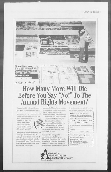 Daily Trojan, Vol. 117, No. 51, April 07, 1992