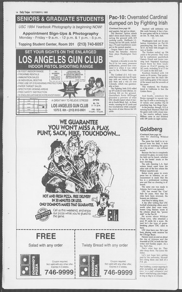 Daily Trojan, Vol. 121, No. 25, October 05, 1993