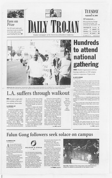 Daily Trojan, Vol. 141, No. 15, September 19, 2000