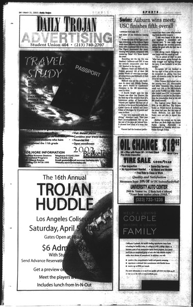 Daily Trojan, Vol. 148, No. 44, March 31, 2003