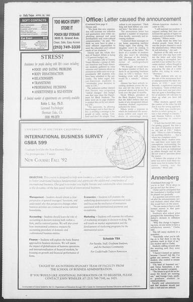Daily Trojan, Vol. 117, No. 66, April 28, 1992