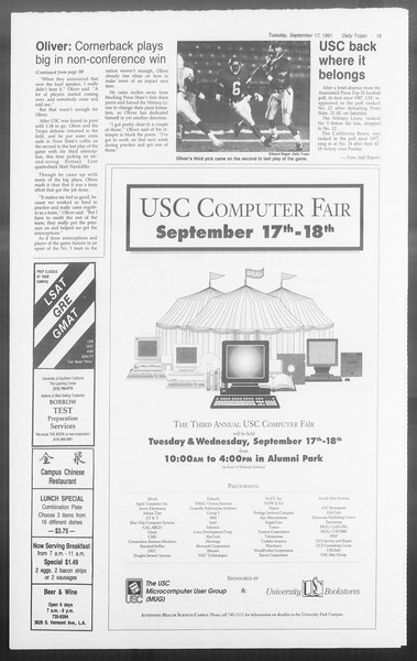 Daily Trojan, Vol. 116, No. 11, September 17, 1991