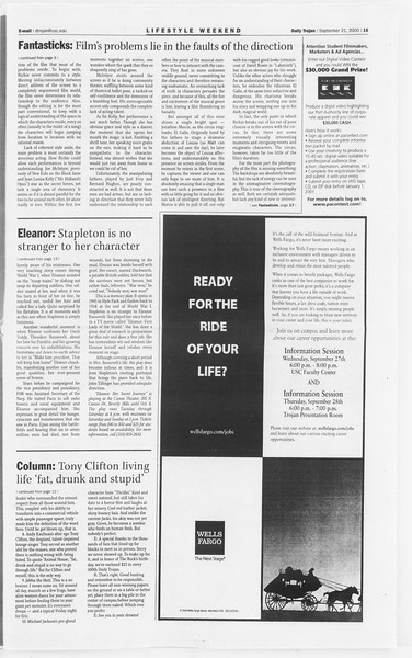 Daily Trojan, Vol. 141, No. 17, September 21, 2000