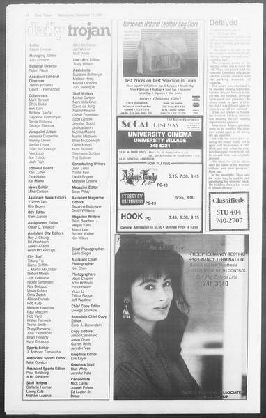 Daily Trojan, Vol. 116, No. 67, December 11, 1991