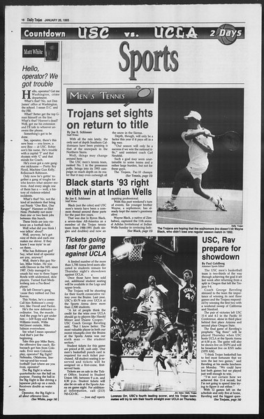 Daily Trojan, Vol. 119, No. 9, January 26, 1993
