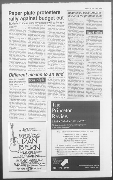 Daily Trojan, Vol. 117, No. 49, March 26, 1992