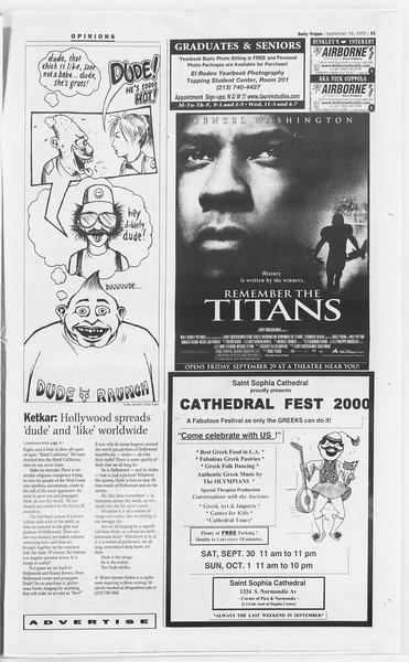 Daily Trojan, Vol. 141, No. 23, September 29, 2000