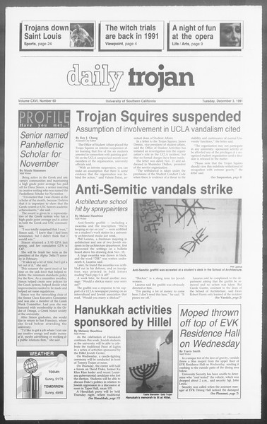 Daily Trojan, Vol. 116, No. 61, December 03, 1991