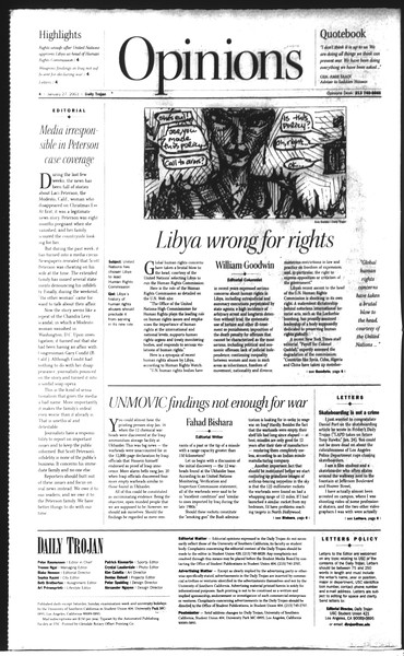 Daily Trojan, Vol. 148, No. 8, January 27, 2003