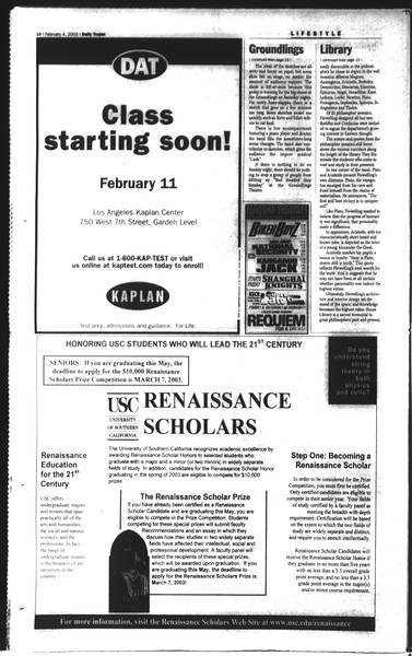 Daily Trojan, Vol. 148, No. 14, February 04, 2003