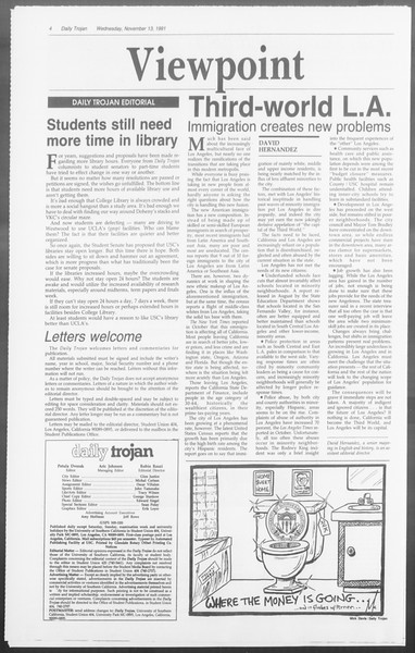 Daily Trojan, Vol. 116, No. 51, November 13, 1991
