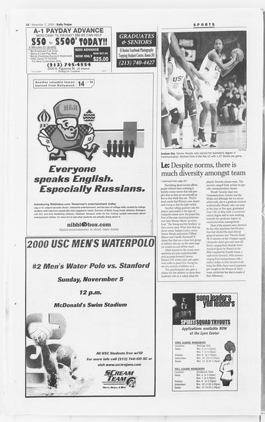 Daily Trojan, Vol. 141, No. 46, November 02, 2000