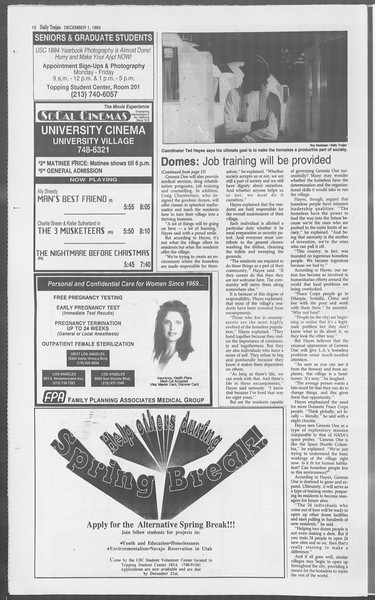 Daily Trojan, Vol. 121, No. 61, December 01, 1993