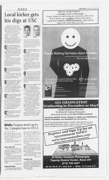 Daily Trojan, Vol. 141, No. 33, October 13, 2000