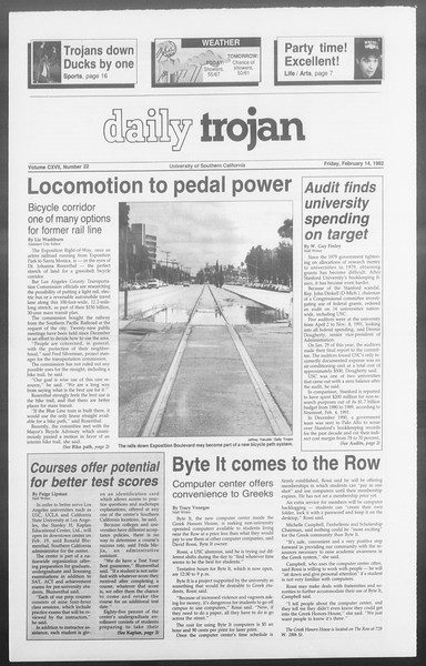 Daily Trojan, Vol. 117, No. 22, February 14, 1992