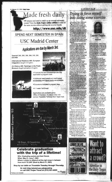 Daily Trojan, Vol. 148, No. 27, February 25, 2003