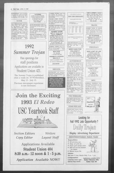 Daily Trojan, Vol. 117, No. 56, April 14, 1992