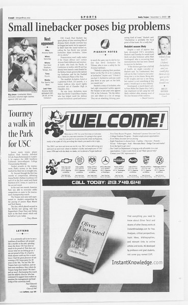 Daily Trojan, Vol. 141, No. 45, November 01, 2000