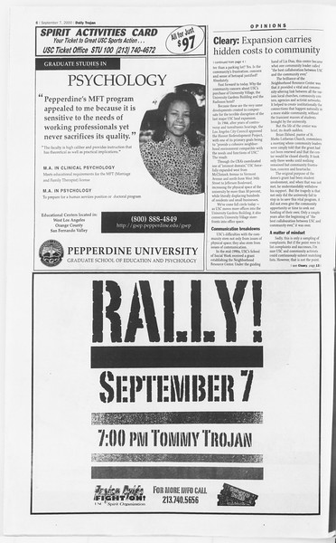 Daily Trojan, Vol. 141, No. 7, September 07, 2000