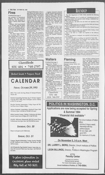Daily Trojan, Vol. 121, No. 43, October 29, 1993