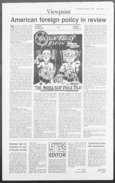 Daily Trojan, Vol. 116, No. 47, November 07, 1991