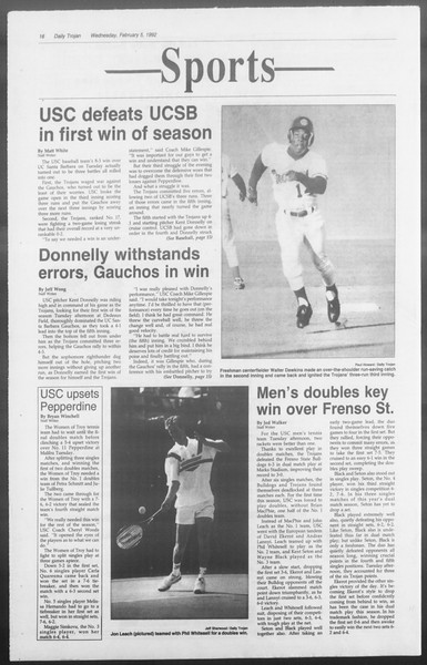Daily Trojan, Vol. 117, No. 15, February 05, 1992