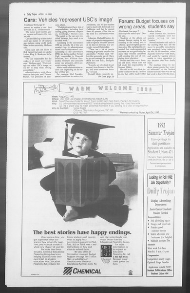 Daily Trojan, Vol. 117, No. 57, April 15, 1992