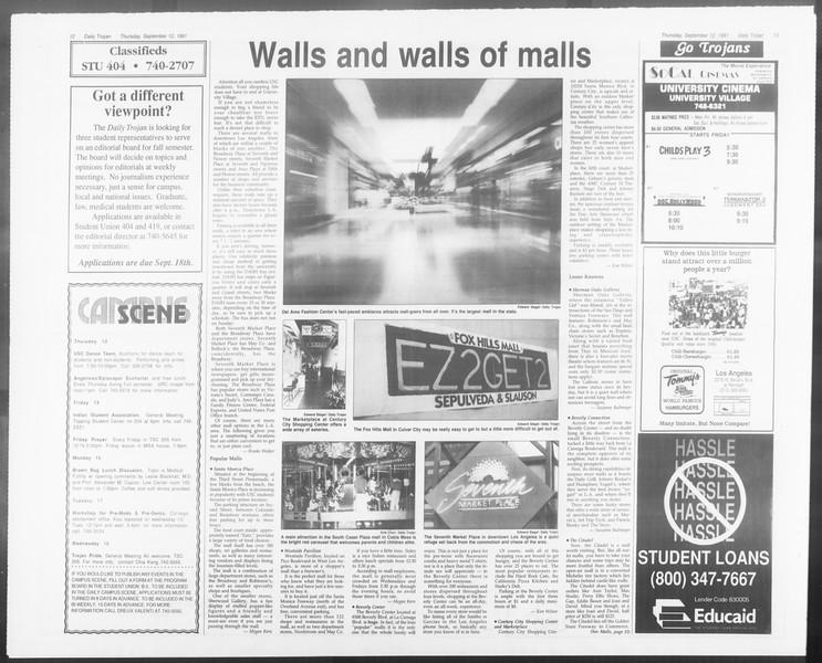 Daily Trojan, Vol. 116, No. 8, September 12, 1991