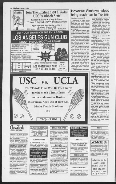 Daily Trojan, Vol. 119, No. 54, April 09, 1993