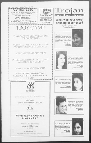 Daily Trojan, Vol. 117, No. 27, February 25, 1992