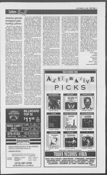 Daily Trojan, Vol. 121, No. 12, September 16, 1993