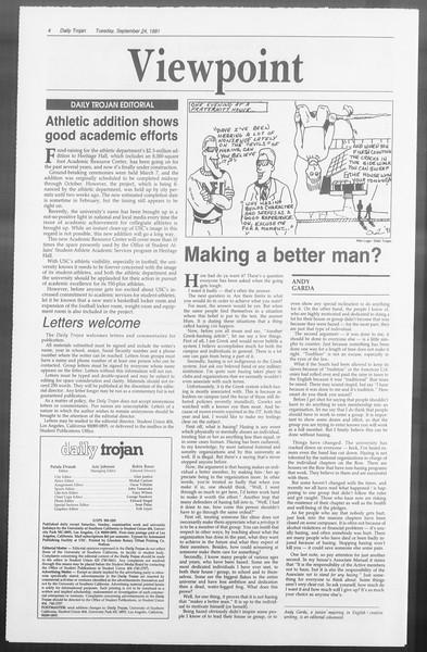 Daily Trojan, Vol. 116, No. 16, September 24, 1991