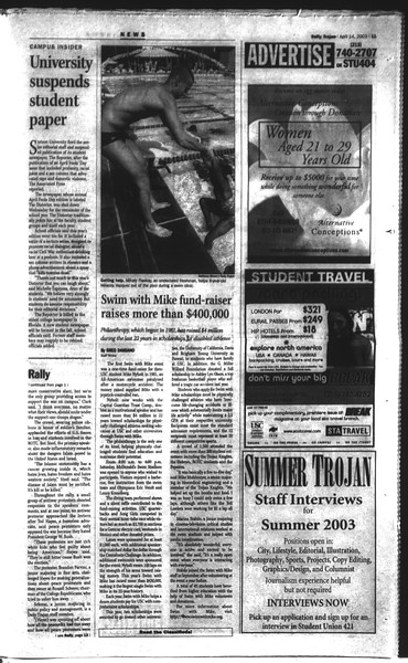 Daily Trojan, Vol. 148, No. 54, April 14, 2003