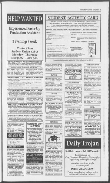 Daily Trojan, Vol. 121, No. 8, September 10, 1993