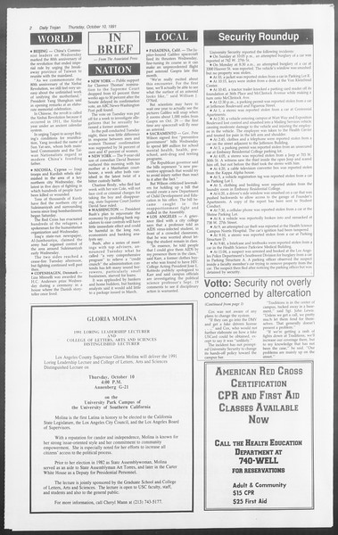 Daily Trojan, Vol. 116, No. 28, October 10, 1991