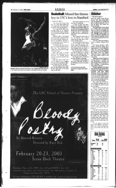 Daily Trojan, Vol. 148, No. 25, February 21, 2003