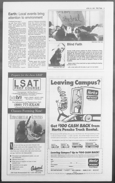 Daily Trojan, Vol. 117, No. 60, April 20, 1992