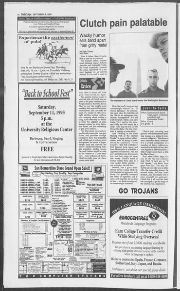 Daily Trojan, Vol. 121, No. 6, September 08, 1993
