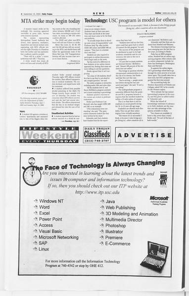 Daily Trojan, Vol. 141, No. 13, September 15, 2000