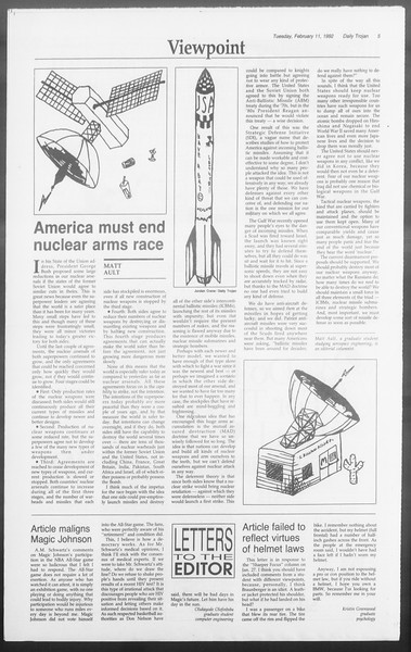 Daily Trojan, Vol. 117, No. 19, February 11, 1992
