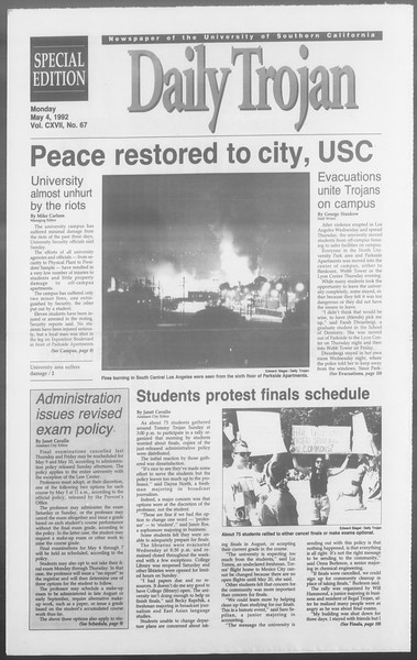 Daily Trojan, Vol. 117, No. 67, May 04, 1992