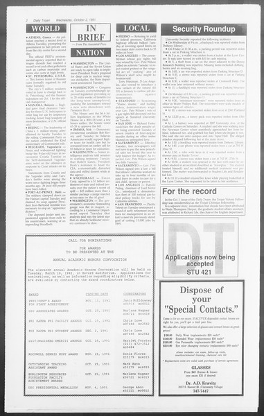 Daily Trojan, Vol. 116, No. 22, October 02, 1991