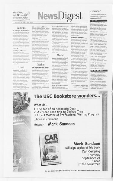 Daily Trojan, Vol. 141, No. 17, September 21, 2000