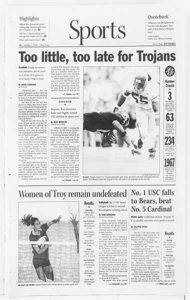 Daily Trojan, Vol. 141, No. 24, October 02, 2000