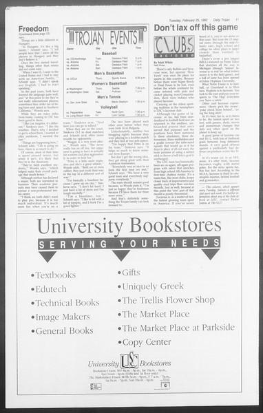 Daily Trojan, Vol. 117, No. 27, February 25, 1992