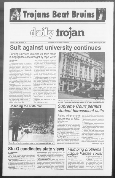 Daily Trojan, Vol. 117, No. 30, February 28, 1992