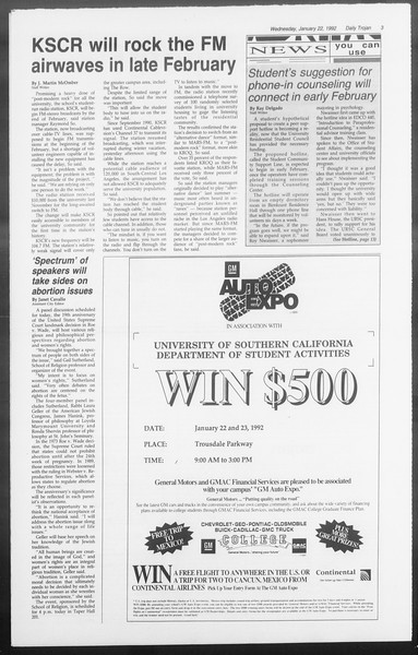 Daily Trojan, Vol. 117, No. 5, January 22, 1992