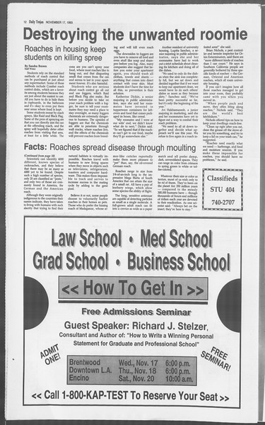 Daily Trojan, Vol. 121, No. 55, November 17, 1993