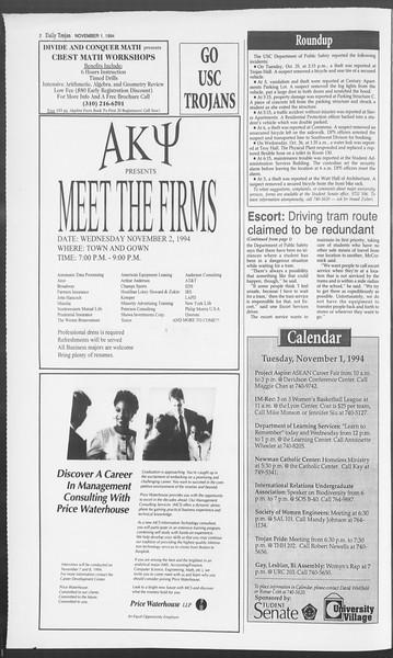 Daily Trojan, Vol. 123, No. 42, November 01, 1994